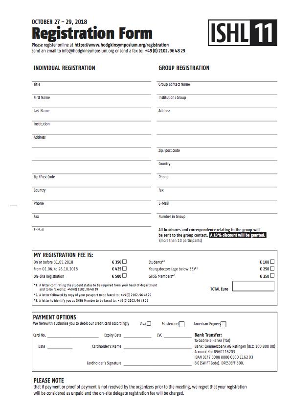 Online Registration Ishl11 International Symposium On Hodgkin